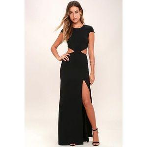 Lulus Cut Out Side Cap Sleeve Slit Long Dress